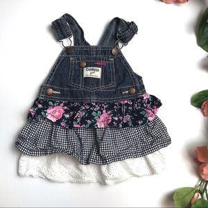 Oshkosh B'gosh Girls Denim Ruffle Jumpsuit dress